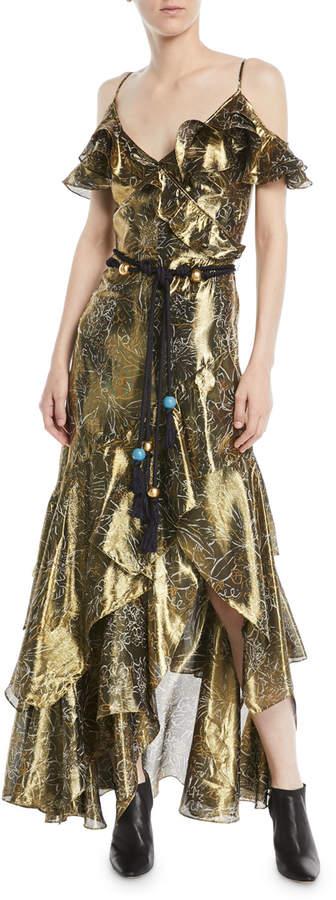 Peter Pilotto V-Neck Sleeveless Printed Metallic Cocktail Dress