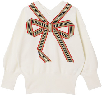 Burberry Girl's Arabelle Icon Stripe Bow Knit Sweater, Size 8-12