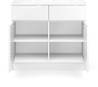Ideal Home Bilbao Ready Assembled Compact High Gloss Sideboard - White