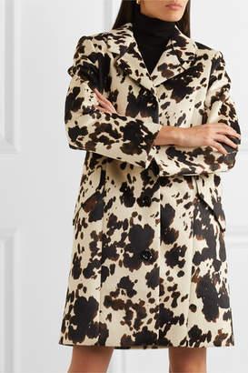 ALEXACHUNG Cow-print Faux Fur Coat - Ecru