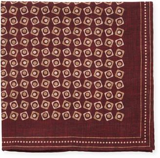 Brunello Cucinelli Squares Printed Silk Pocket Square