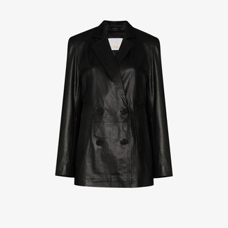 Remain Debbi double-breasted leather blazer