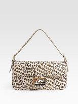 Fendi Leopard-Print Watersnake Baguette Shoudler Bag