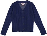 Pink Angel Navy Cable-Knit V-Neck Cardigan - Infant Toddler & Girls