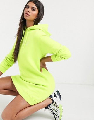 Daisy Street hoody dress with rhinestone honey slogan in neon green