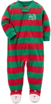 "Carter's Toddler Boy On the Nice List"" Striped Microfleece One-Piece Christmas Pajamas"