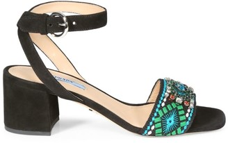 Prada Embellished Embroidered Block-Heel Leather Sandals