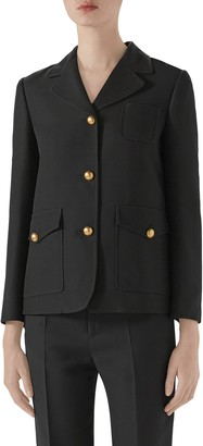 Gucci Marmont Silk & Wool Cady Crepe Coat