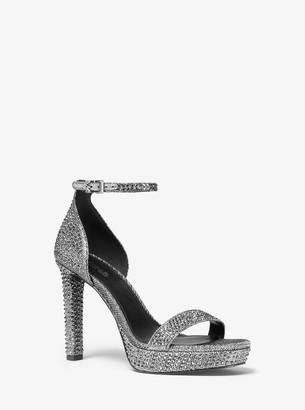 MICHAEL Michael Kors Margot Embellished Glitter Chain-Mesh Platform Sandal