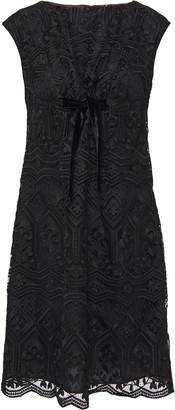 Anna Sui Bow-embellished Macrame Lace Mini Dress