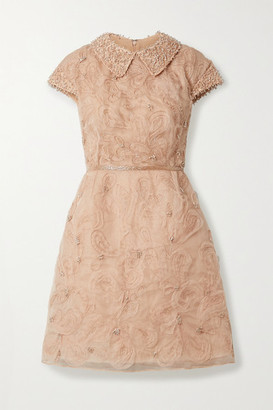 Marchesa Embellished Silk-georgette Mini Dress - Pastel orange