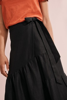 Country Road Organically Grown Linen Wrap Skirt