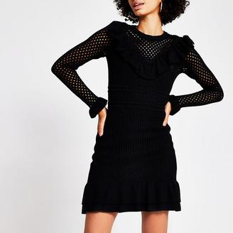 River Island Black mini crochet dress