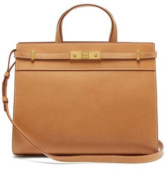 Saint Laurent Manhattan Medium Leather Tote Bag - Tan