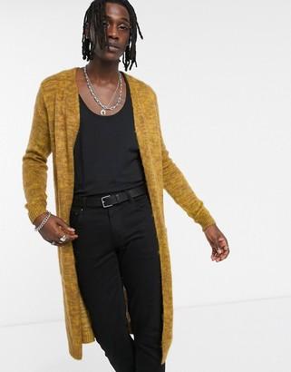 ASOS DESIGN fluffy textured longline cardigan in mustard yarn