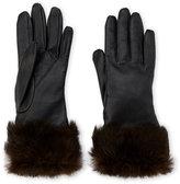 Fownes Rabbit Fur Trim Leather Gloves