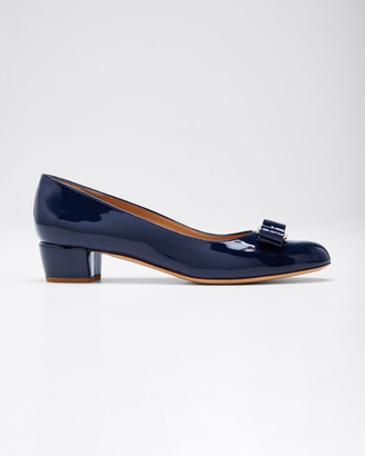 Salvatore Ferragamo Patent Bow Pumps, Oxford Blue