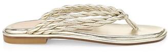 Stuart Weitzman Calypso Metallic Leather Flat Thong Sandals