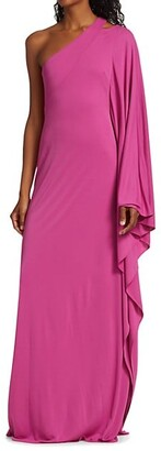 Halston Lydia One-Shoulder Gown