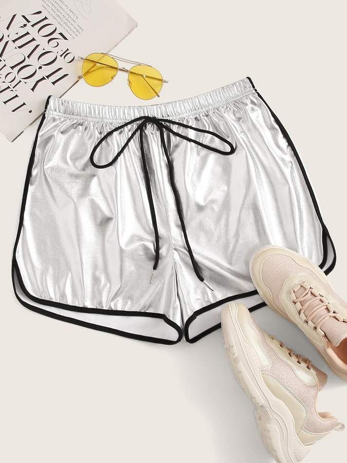 Shein Knot Waist Contrast Binding Metallic Dolphin Shorts