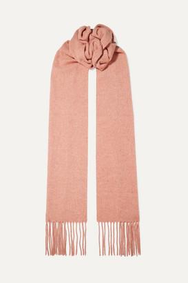 Acne Studios Canada Skinny Fringed Melange Wool Scarf - Antique rose