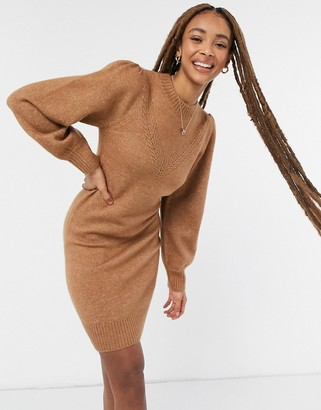 Pimkie jumper dress with sleeve detail in brown