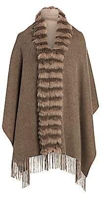 The Fur Salon Women's Fox Fur-Trim Cashmere & Wool Poncho