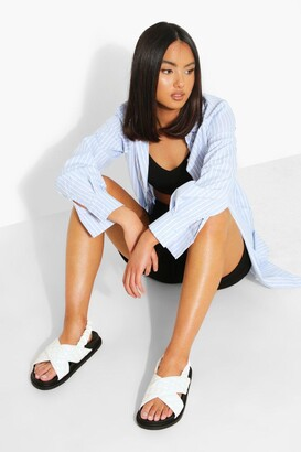 boohoo Cross Strap Quilted Sporty Dad Sandal