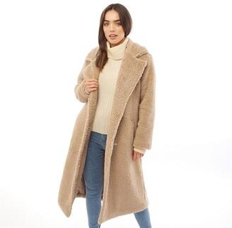 Brave Soul Womens Tasmin Maxi Faux Fur Coat Biscuit