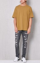 PacSun Skinny Comfort Stretch Destroyed Stitch & Repair Grey Jeans