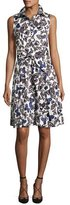 Carolina Herrera Butterfly Belted Sleeveless Shirtdress, Black/White/Blue