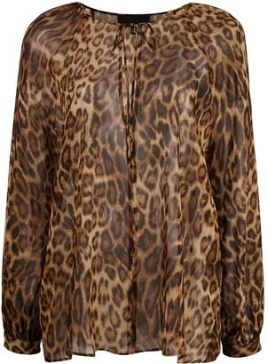 Nili Lotan Sheer Leopard Print Blouse