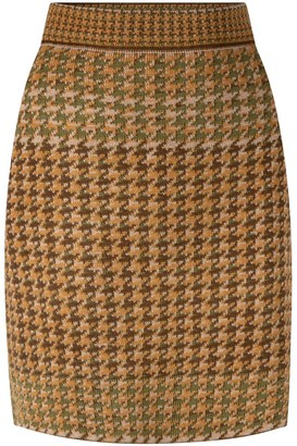 Studio Myr Knitted Knee Length Pencil Skirt In Pieds-De-Poule Pattern Tweed-Moss