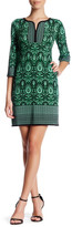 London Times Split Neck Medallion Shift Dress (Petite)