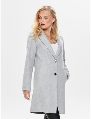 Only Long Single-Breasted Coat with Buttons