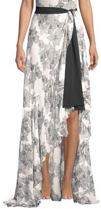 Chiara Boni Iggy Georgette Print Side Slit Maxi Skirt