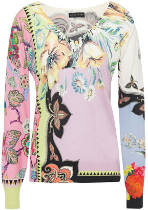 Etro Printed Silk And Cashmere-blend Sweater