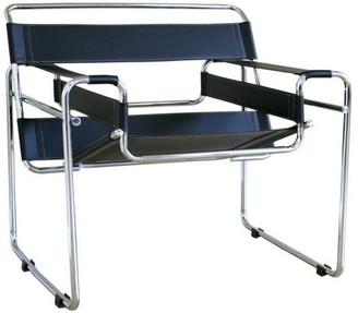 Baxton Studio Jericho Tan Leather Mid-Century Modern Accent Chair, Bla