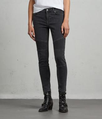 AllSaints Biker Ankle Skinny Low-Rise Jeans, Washed Black