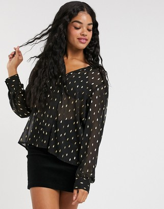 Pimkie chiffon blouse with gold spot in black