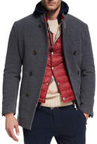 Brunello Cucinelli Wool-Cashmere Zip-Front Pea Coat, Dark Gray