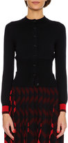 Bottega Veneta Knit Cardigan w/Contrast Cuffs, Blue/Red