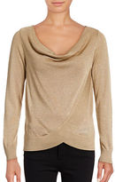I.N.C International Concepts Petite Surplice Cowl Neck Lurex Top