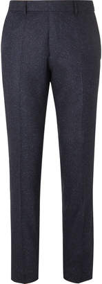HUGO BOSS Navy Slim-Fit Tapered Virgin Wool-Blend Tweed Trousers