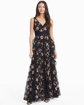 White House Black Market Floral Ruffle Waterfall Maxi Dress