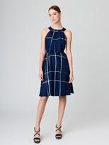 Oscar de la Renta Patchwork Glen Plaid Silk-Twill Dress