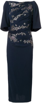 Talbot Runhof floral embellished fitted dress