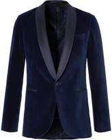 HUGO BOSS Blue Nemir Shawl-Collar Cotton-Velvet And Silk Tuxedo Jacket