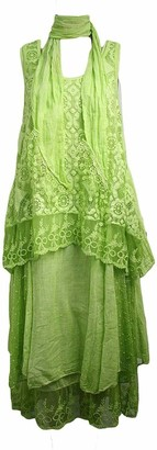 Xpaccessories Italian Womens Ladies Layered Lagenlook Crochet & Lace Panels 3 Piece Top Dress Light Green UK 14