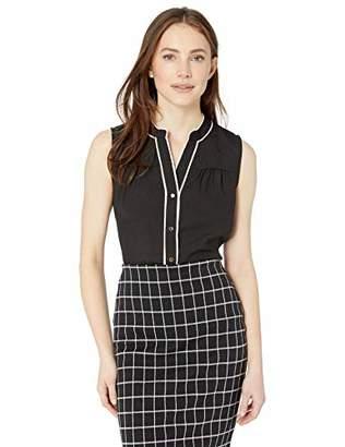 Calvin Klein Women's Sleeveless Piped Button Front Top